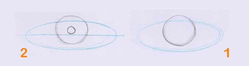 مرحله اول طراحی چشم سیاه قلم