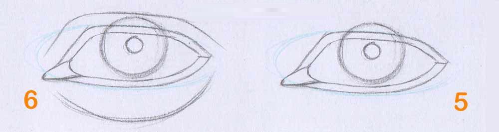 مرحله سوم یادگیری طراحی سیاه قلم چشم